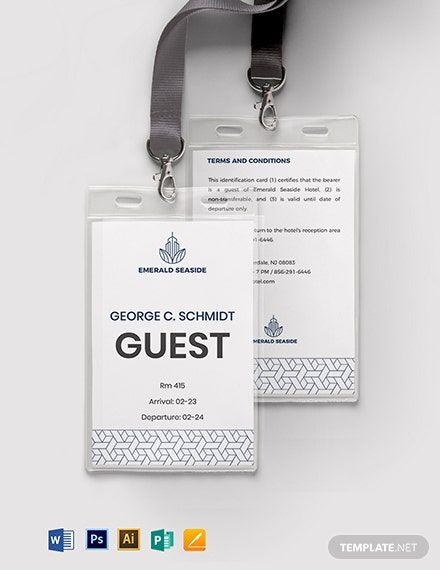 Visitor Guest Id Card Format Template Free Pdf Word Psd Apple Pages Illustrator Publisher Name Badge Template Badge Template Certificate Design Template
