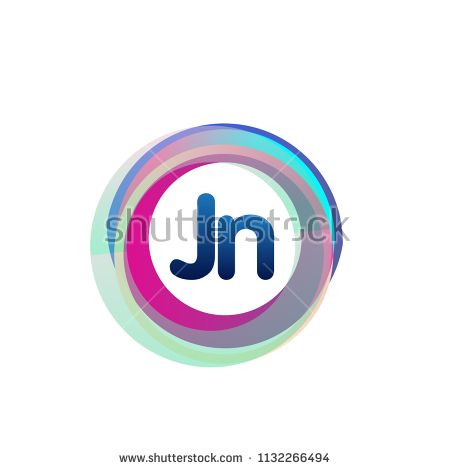 Letter Jn Logo With Colorful Circle Letter Combination Logo Design With Ring Circle Object For Creative Industry We Lettering Letter Logo Design Logo Design
