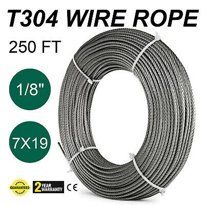 Ad Ebay T 304 Grade 7 X 19 Stainless Steel Cable Wire Rope 1 8 250 Ft In 2020 Stainless Steel Cable Cable Wire Stainless Steel Wire