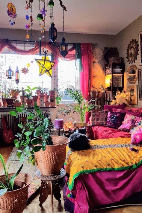Boho bedroom decor hippie bohemian style plants 36 - Eclectic Home Decor Hippie Bedroom Decor, Bohemian Bedroom Design, Boho Room, Hippie Home Decor, Bohemian Decorating, Hippie Apartment Decor, Bohemian Interior, Bedroom Designs, Hippy Bedroom