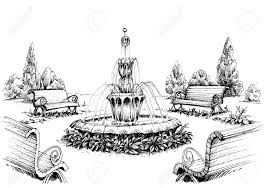 Image Result For Black And White Fountain Garden Sketch Drawings Collage Illustration Water Drawing