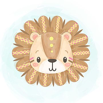 Cute Tribal Lion Head In Watercolor Lion King Clipart Adorable Animal Png And Vector With Transparent Background For Free Download Kartinki So Lvom Tibetskoe Iskusstvo Milye Risunki