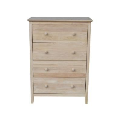 Brooklyn 4 Drawer Unfinished Wood Chest Of Drawers Wood Chest Unfinished Wood Solid Wood Dresser Unfinished chest of drawers