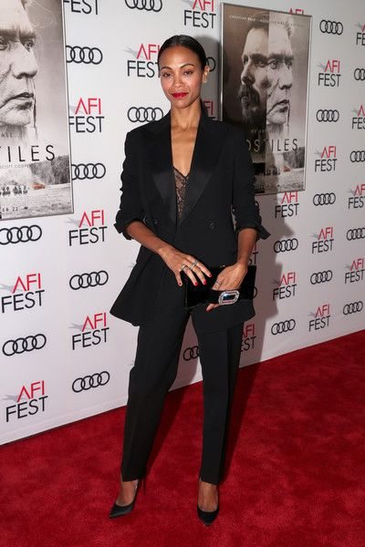 Zoe Saldana attends the screening of 'Hostiles' at AFI FEST 2017.