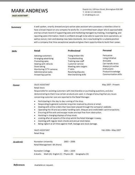 academic cv examples free download u2026 Pinteresu2026 - retail skills for resume