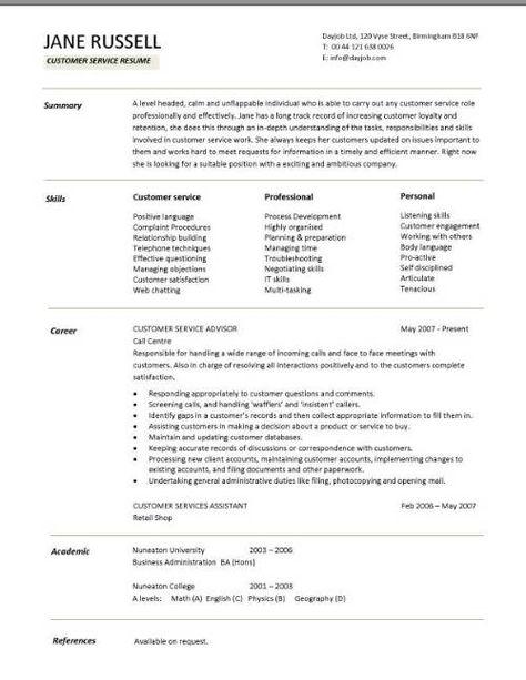Customer Service Resume Skills Sample Resume Templates