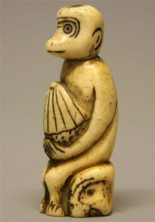 Rare 19th C Meiji Japanese Carved Stag Antler Bone Netsuke Stylized Monkey Photo Netsuke Asian Antiques Japanese Antiques