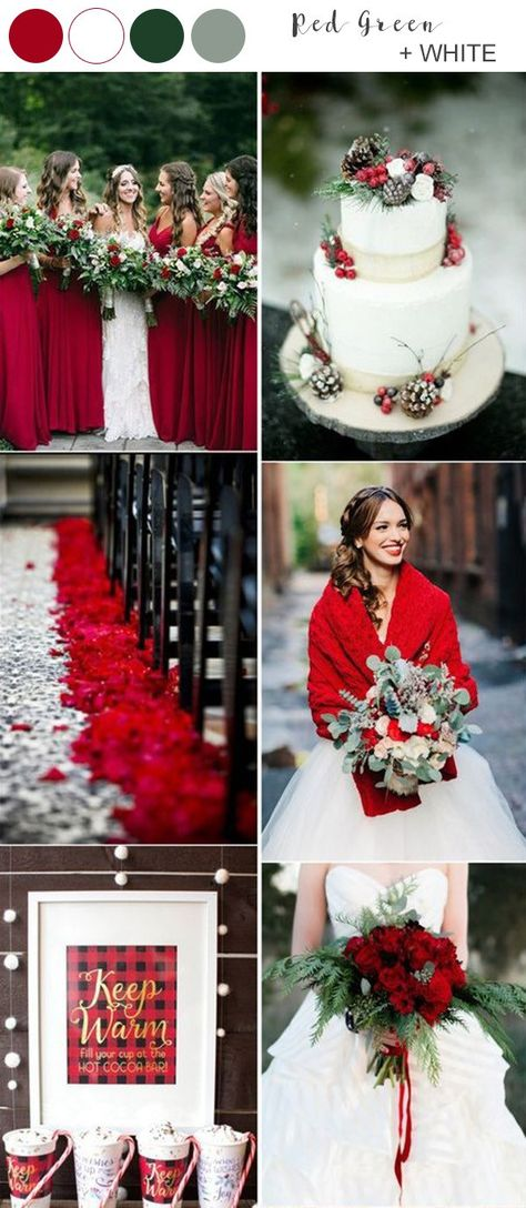 red white and green winter wedding color ideas