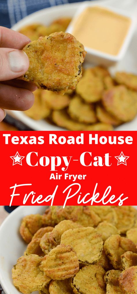 Air Fryer Fried Pickles Texas Road House Copy Cat Air Fryer Fried Pickles are one of my favorites! This is a Texas Road House Copycat Fried Pickle recipe. To make it even better it is made right in the air Air Fryer Recipes Snacks, Air Fryer Recipes Breakfast, Air Frier Recipes, Air Fryer Dinner Recipes, Texas Roadhouse, Fried Pickles Recipe, Oven Fried Pickles, Crockpot, Brunch