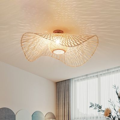 Bamboo Hand Worked Semi Flush Light Japanese 1 Heads Beige Close To Ceiling Lighting Ceiling Lights Wall Lights Living Room Sconce Lighting Bedroom