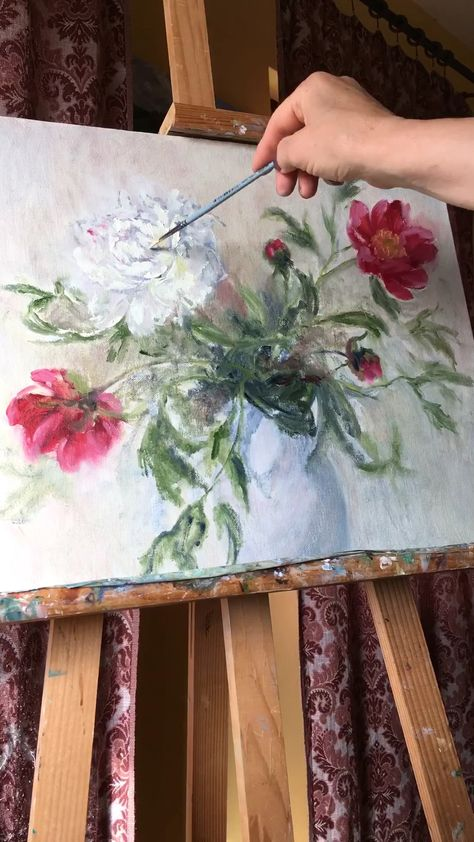 Original hand-painted work of art Floral Bouquet of Peonies Title: Bouquet of Peonies Medium: oil on canvas (on stretcher bars) Size: 40/50cm / 15.7/19.7 inches Year: 2019   The painting is safely wrapped and ready to display in the minute that arrives. It is a perfect gift for any occasion! The