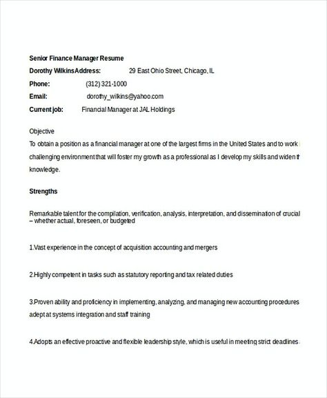 Senior Finance Manager Resume  Bank Branch Manager Resume  This