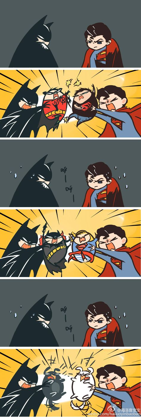 Batman v Superman. Oh come on, you guys are not kids. Batman, don't let robin , batgirl and titus got hurt. Superman, just leave Krypto alone(i don't care about superboy and supergirl)