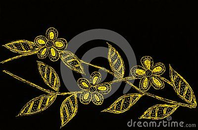 A Black And Gold Hand Drawing Of Three Blossoms On A Twig On A