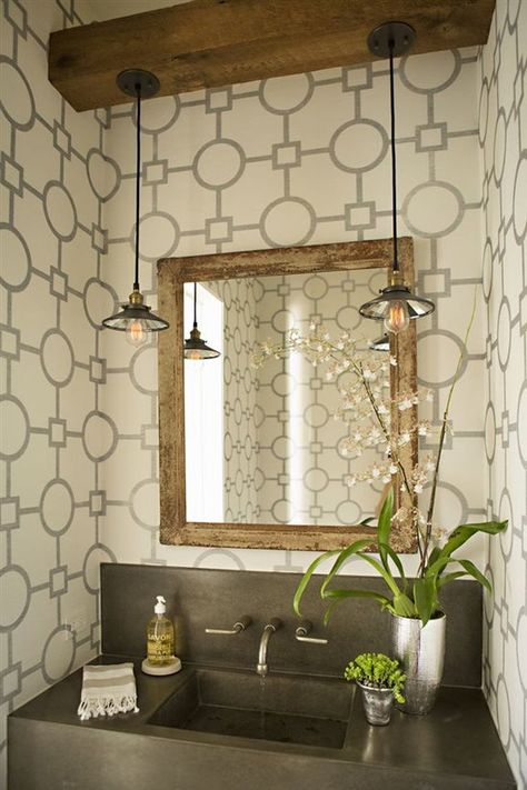 Industrial Chic Pendant Lights In Powder Room Bathroom