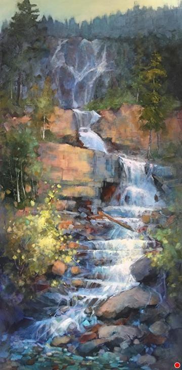 Vertical Rhythm By Linda Wilder Acrylic 60 X 30 Landscape Paintings Acrylic Landscape Paintings Waterfall Paintings
