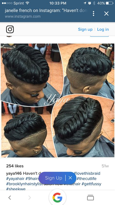 Shaved sides with crown braid.