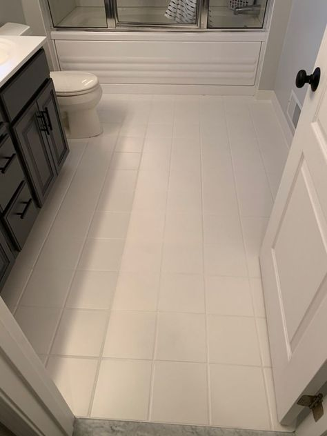 Hate your old flooring? Keep reading to learn how easy it is to give them a new look! Let's Get Started After painting the countertop in our Master Bathroom… Painting Tile Floors, Painted Floors, Painted Floor Tiles, Painted Bathroom Floors, Stenciled Floor, Painted Wood, Ceramic Floor Tiles, Bathroom Floor Tiles, Painting Bathroom Tiles