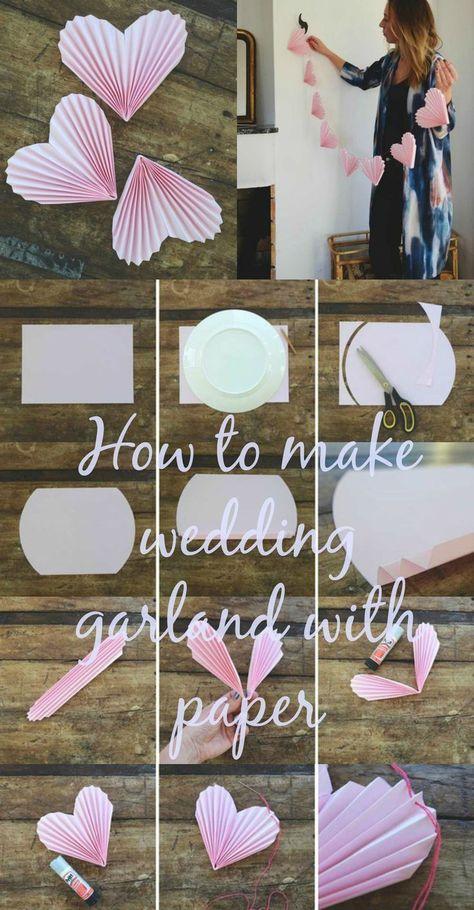 How to make wedding garland pink hearts with paper - Brautkleider