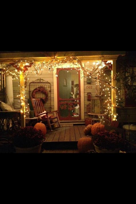 I love the lights mixed in with the grapevine wreath - nice idea for Christmas