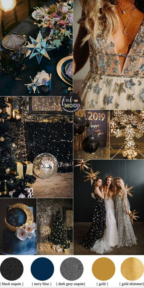 blue wedding celestial wedding theme, new years eve wedding, blue gold wedding colors, black gold wedding colors Blue Gold Wedding, Gold Wedding Colors, Wedding Color Schemes, Gold Wedding Theme, Gold Wedding Nails, Black Wedding Decor, Wedding Theme Ideas Unique, Night Wedding Decor, March Wedding Colors