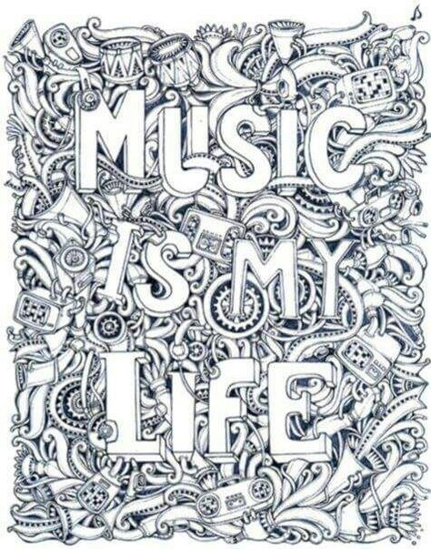 Music Is My Life coloring page | Coloriage musique, Dessin ...