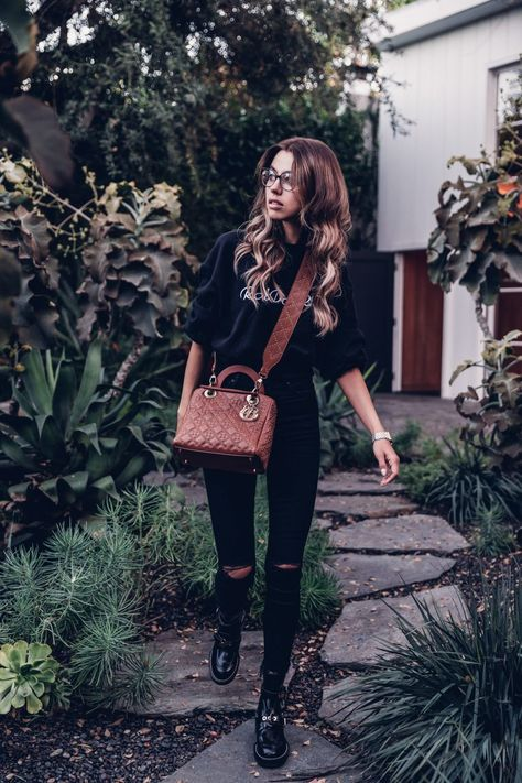 All black outfit, skinny ankle lace black jeans, cropped black sweatshirt, Lady Dior bag