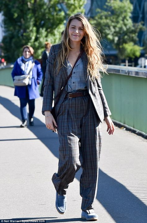 Off duty beauty: During her downtime from Paris Fashion Week, the Green Lantern actress posed for photographs in front of the Statue Of Liberty at Pont de Grenelle