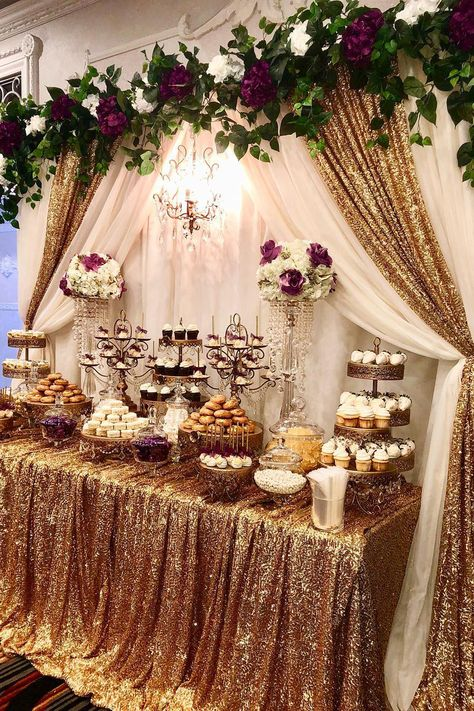 Elegant Wedding Dessert Table Elegant wedding dessert table styled by Quince Decorations, Quinceanera Decorations, Birthday Decorations, Wedding Cake Table Decorations, Quince Themes, Quince Ideas, Quinceanera Ideas, Elegant Wedding, Diy Wedding