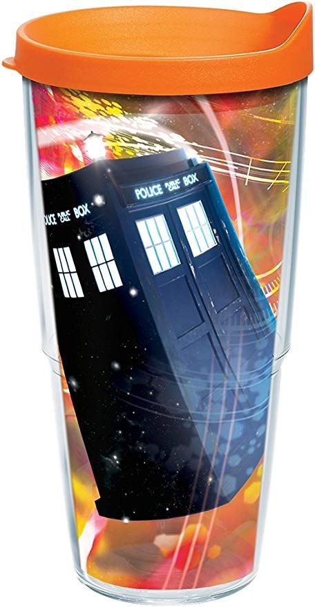 Clear Tervis 1258519 Bbc-Doctor Who Time Lord Insulated Tumbler with Wrap and Orange Lid 24oz