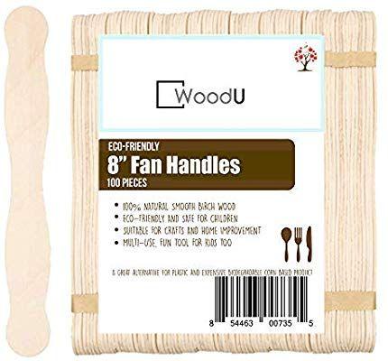 Amazon Com Natural Wavy Jumbo Wood Fan Handles Wedding Fan Craft Sticks 8 Wavy Craft Sticks 100pc Wedding Fans Craft Stick Crafts Crafts