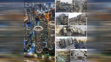 نشر الإعلامي السوري فيصل القاسم صورة قارن فيها بين لقطات لعدة مدن سورية مع تل أبيب بإسرائيل في ظل ما وصفه بـ عصر القيادة الحكيمة Blog Posts