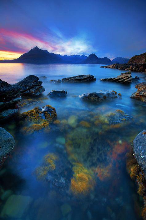 The misty blue beauty of Elgol on the Isle of Skye, Scotland