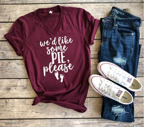53c9eda76 We'd like some pie please   Unisex t-shirt, thankful shirt, thanksgiving  pregnancy announcement shirt, ways to announce pregnancy thanksgiving, ...