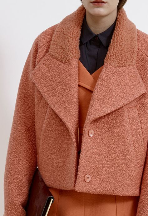CARVEN   PRE-FALL 2014 Love the texture combination. Definitely look into similar materials, perhaps a plusher, longer fur for the top collar!