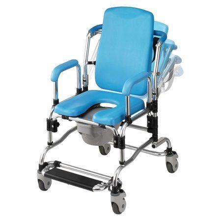142 30 Medical Aluminum Shower Chair Commode Toilet Seat Swivel