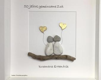 Stone Painting H299 Golden Wedding Geschenke Zur Goldenen Hochzeit Steinbilder Aquarell Herz
