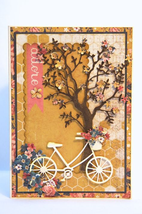 a card using Memory Box grand tree, and bicycle. love this card!