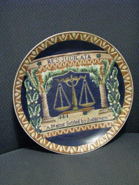 """Res Judicata"" decorative law-themed plate"
