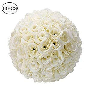 Z Ztdm 10 Inch Rose Flower Ball Bouquet Artificial Romantic For Home Outdoor Wedding Party Centerpieces Decorations 10piece Ivory White Flower Ball Pomander Wedding Kissing Ball