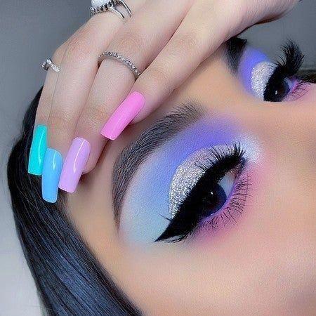 Makeup Eye Looks, Eye Makeup Art, Colorful Eye Makeup, Beautiful Eye Makeup, Makeup Inspo, Eyeshadow Makeup, Makeup Ideas, Bright Makeup, Pastel Eyeshadow