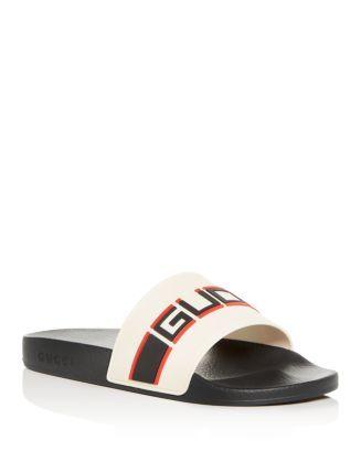 Logo Stripe Slide Sandals