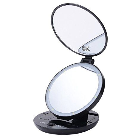 Catata Portable Durable Lightweight Lighted Travel Makeup Mirror