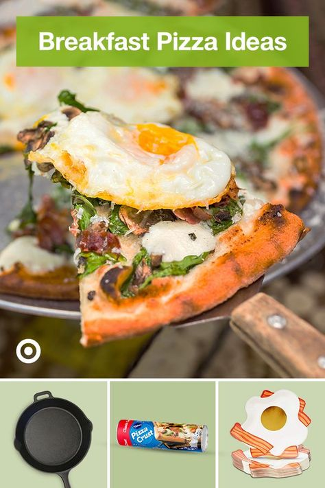 Create an easy breakfast pizza bar with a buffet of creative topping ideas from eggs to cinnamon streusel.