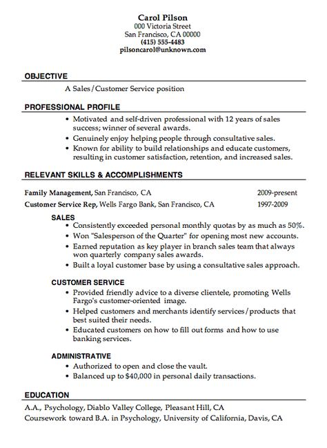 Over 10000 CV and Resume Samples with Free Download One Page - sample of sales resume