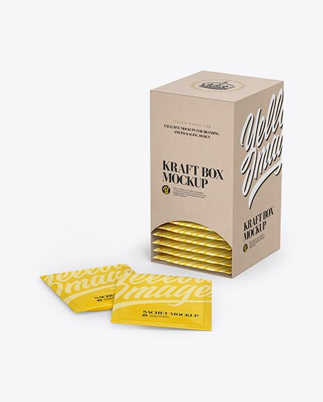 Download Kraft Box W Sachets Mockup In Box Mockups On Yellow Images Object Mockups Packaging Mockup Tea Packaging Design Sachet