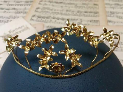 Goldene Brautkrone Für Hochzeit 70er Jahre Myrte Diadem
