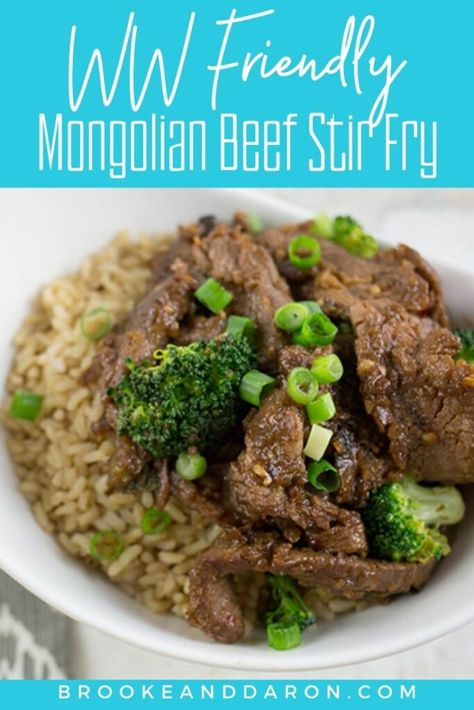 Mongolian Beef Stir Fry with Broccoli is a perfect recipe to add flavor to your meal plan without a lot of fat, calories, or SmartPoints! Make this easy beef stir fry in minutes for low points on WW! | Blue Plan: 11, Green Plan: 11, Purple Plan: 7 #smartpoints #wwblueplan #wwgreenplan #wwpurpleplan #weightwatchers #beefrecipes #healthydinner