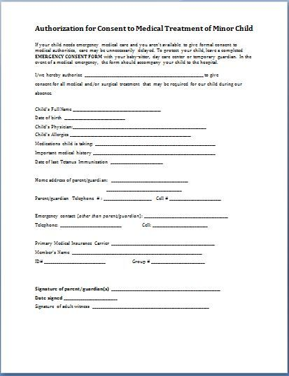 Medical Release Form For Child Consent Forms Medical Consent