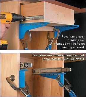 Kreg Drawer Slide Mounting Brackets Woodworking Woodworking Tips Pinterest Mounting Brackets Woodworking And Drawers